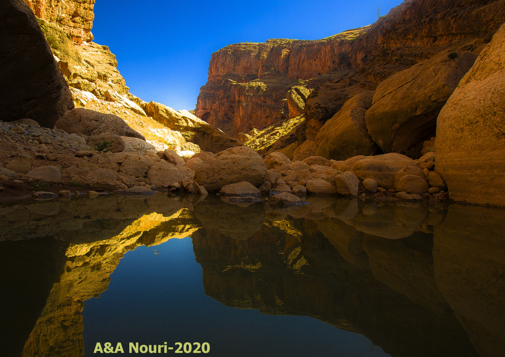 a reflection in the canyon