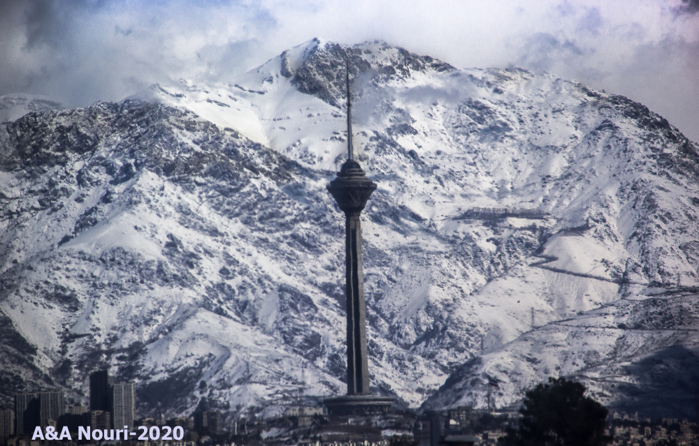 Milad tower and snow