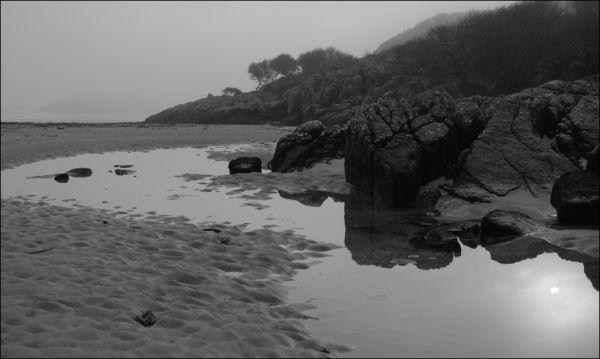 mist on the island of erraid, mull, scotland