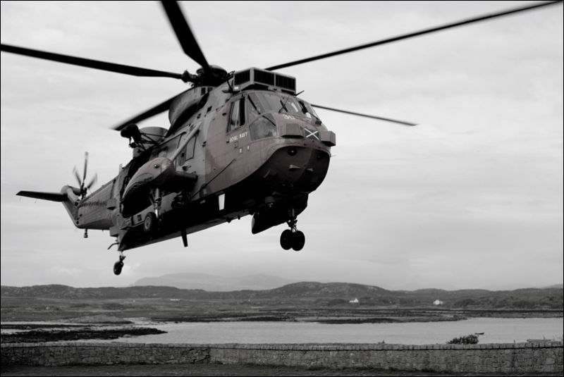 An Raf Helicopter Takes off after a rescue