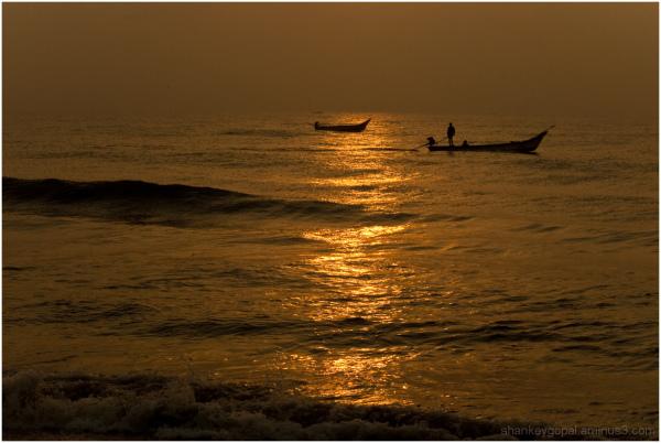 Fishing during sunrise