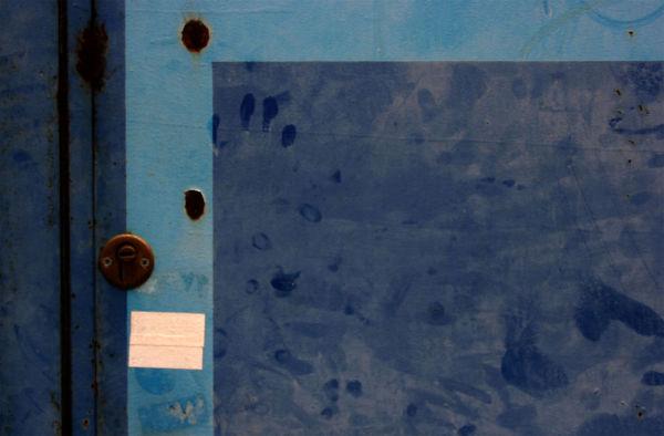 blue door with fingerprints