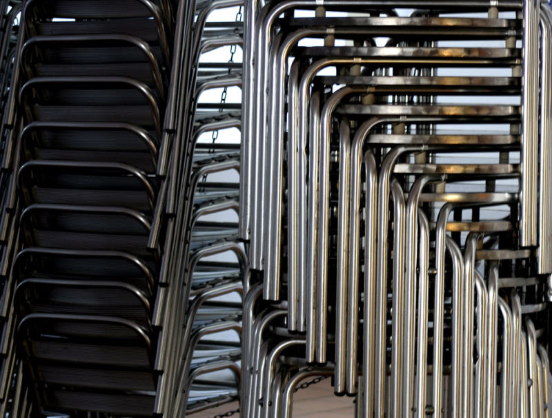 metal chairs in winter