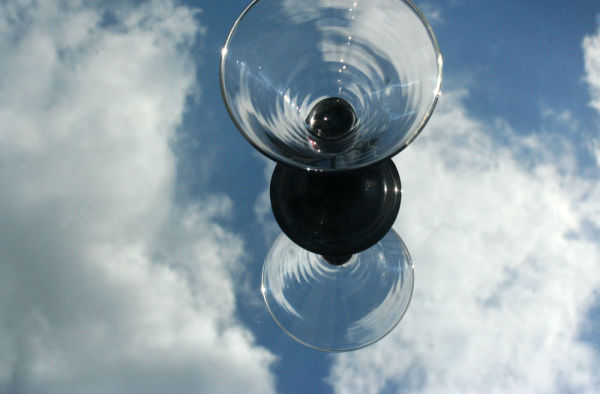 glass with sky reflection