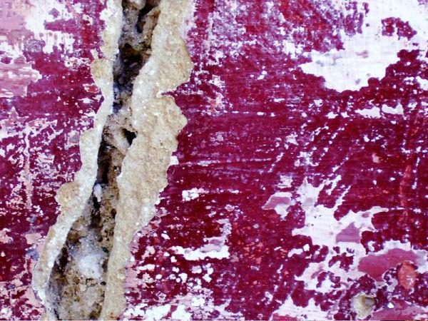 crack on dark red wall