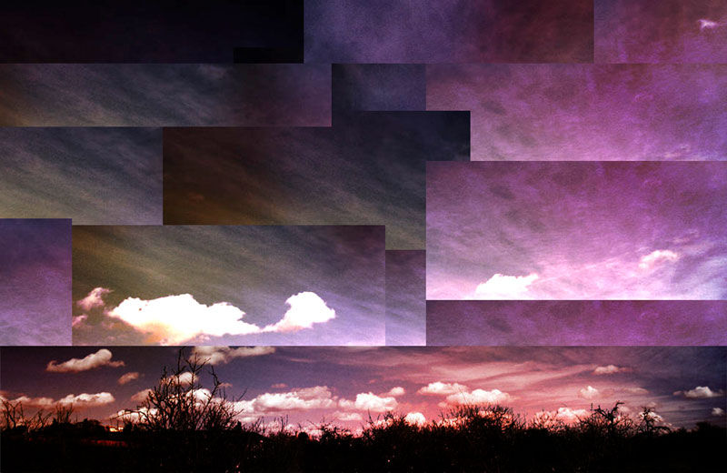 coloured sunset collage