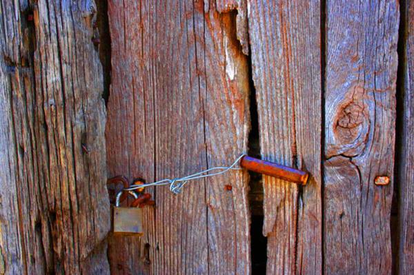 lock on old wooden door