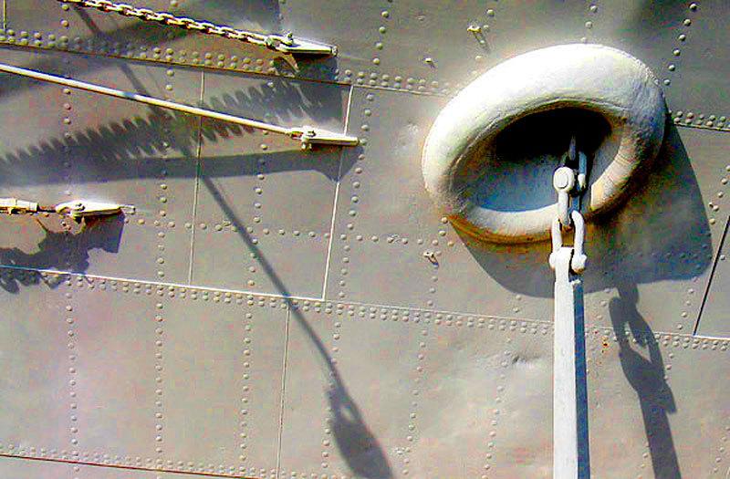 anchor on ship hull