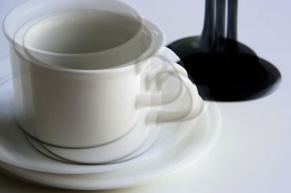 white coffee cup and glass