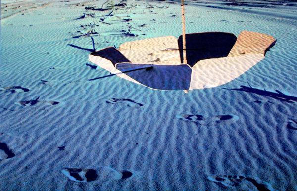 blue water seaside parasol