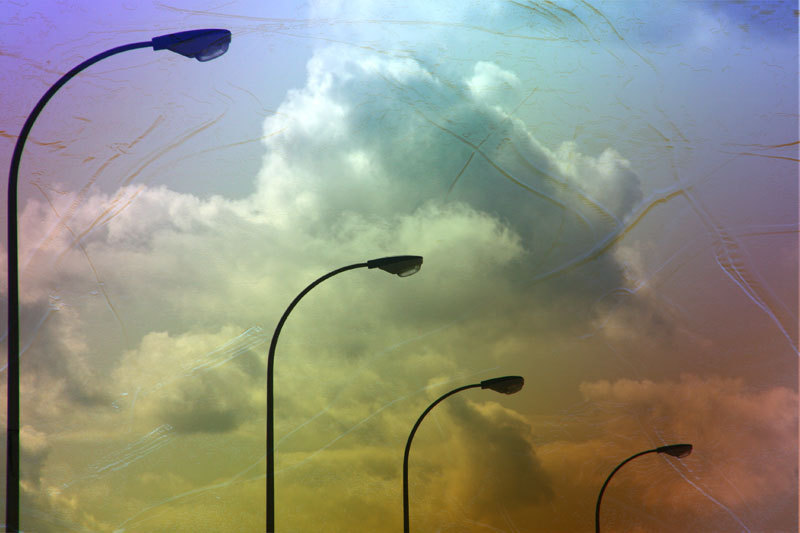 Streetlights cloudy sky