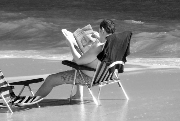 reading at the seaside