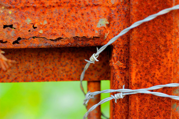 barbed wire rust gate