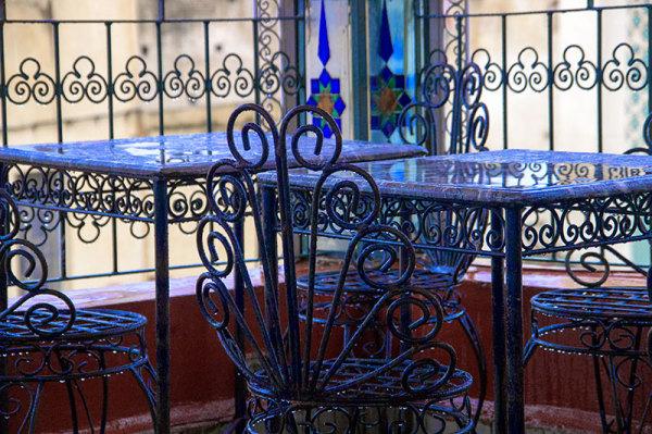 Terrace tables chairs iron rain