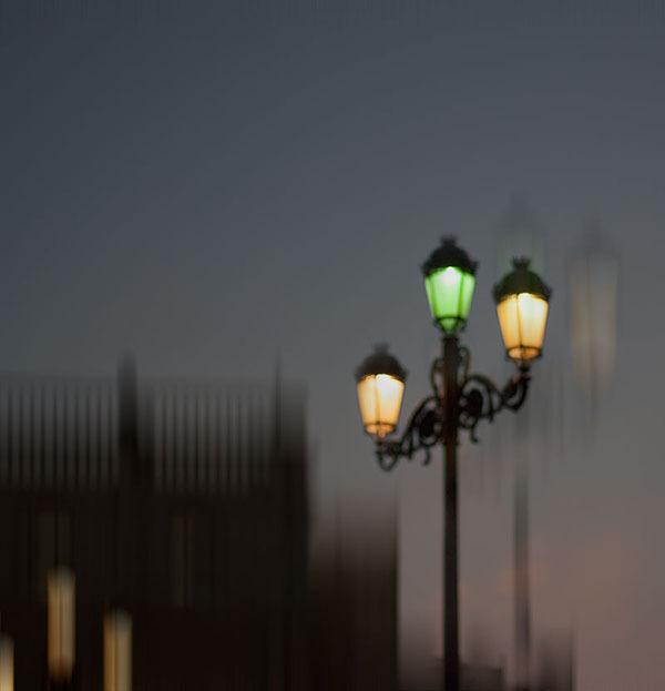 Seville lamppost at night