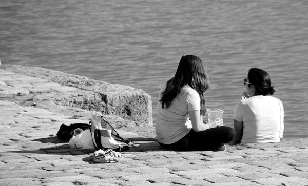 people near river Guadalquivir
