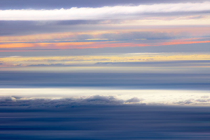 twilight on clouds from a plane