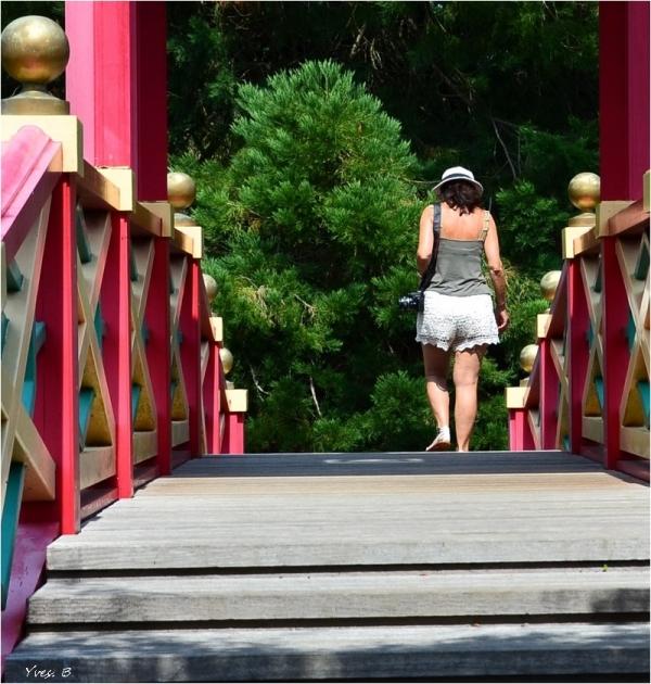 La fille sur la passerelle
