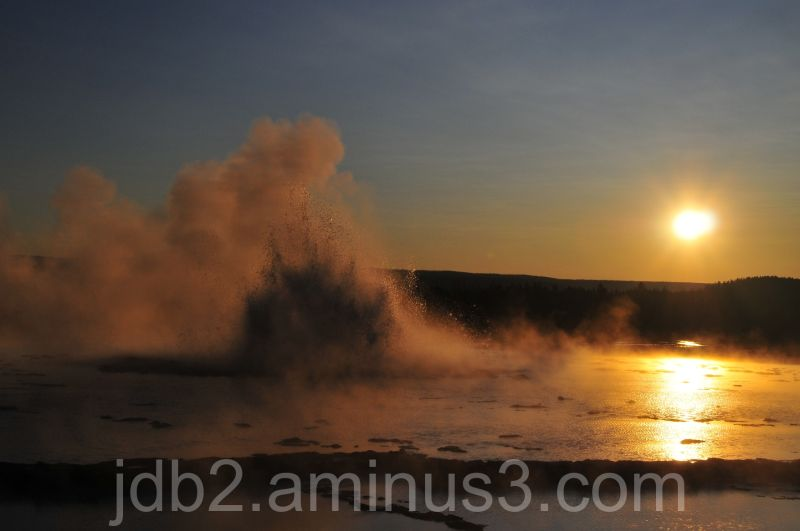 Geyser at sunset