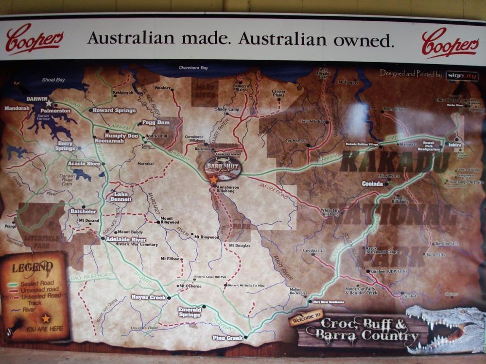 Map of Kakadu park