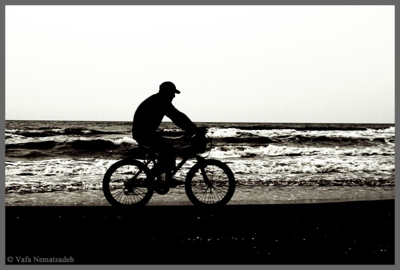 Cyclist and the Sea.Iran