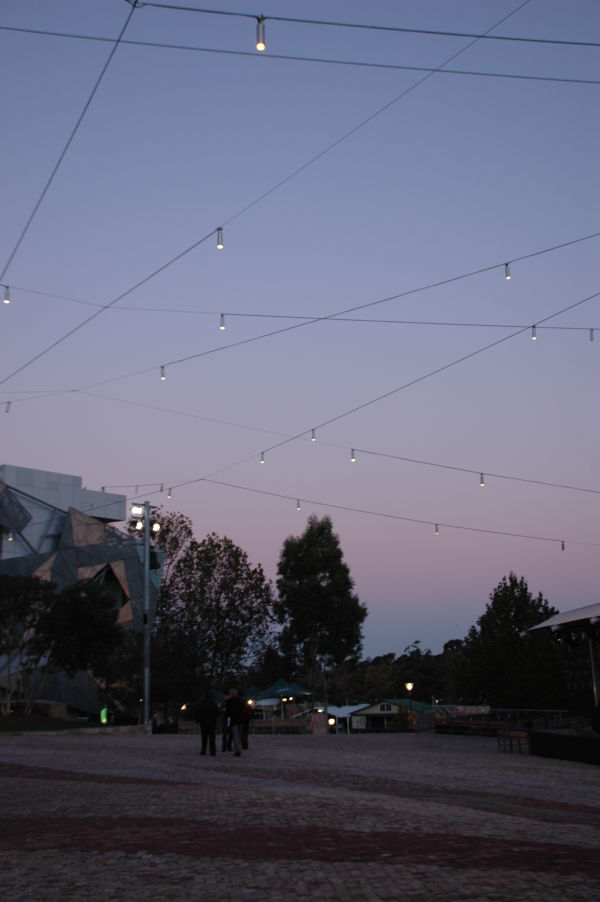 Fed Square as the sun sets