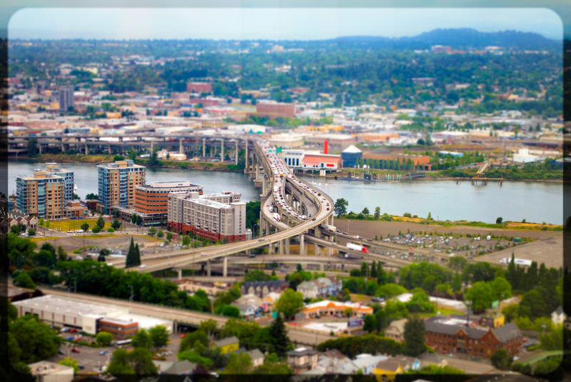 tilt-shift picture of portland oregon
