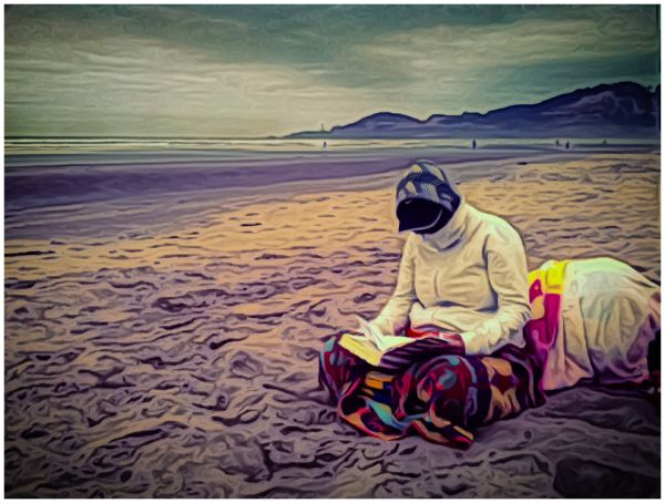 """Sunbathing"" on an Oregon Beach"