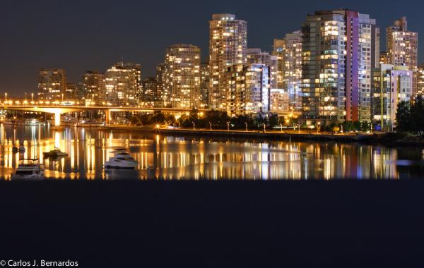 Vancouver port night skyline