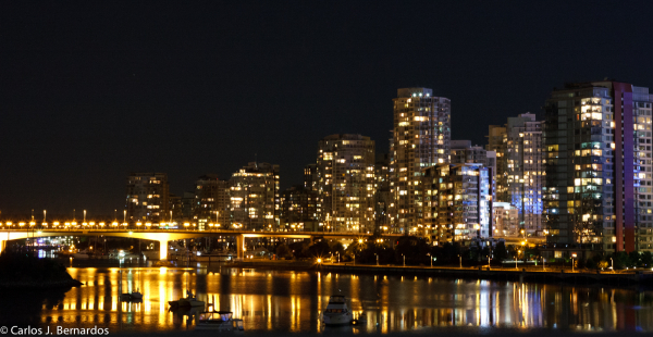 Vancouver port night skyline