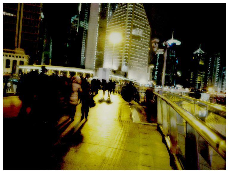 Lu Jia Zui Night View: On the Foot Bridge