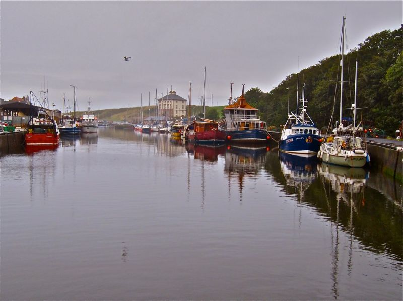 Fishing boats moored at Eyemouth Harbour, Scotland