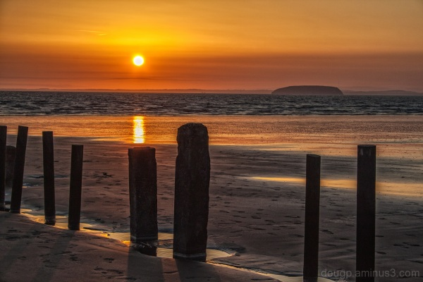 Berrow beach sunset Steep-Holm South-Wales