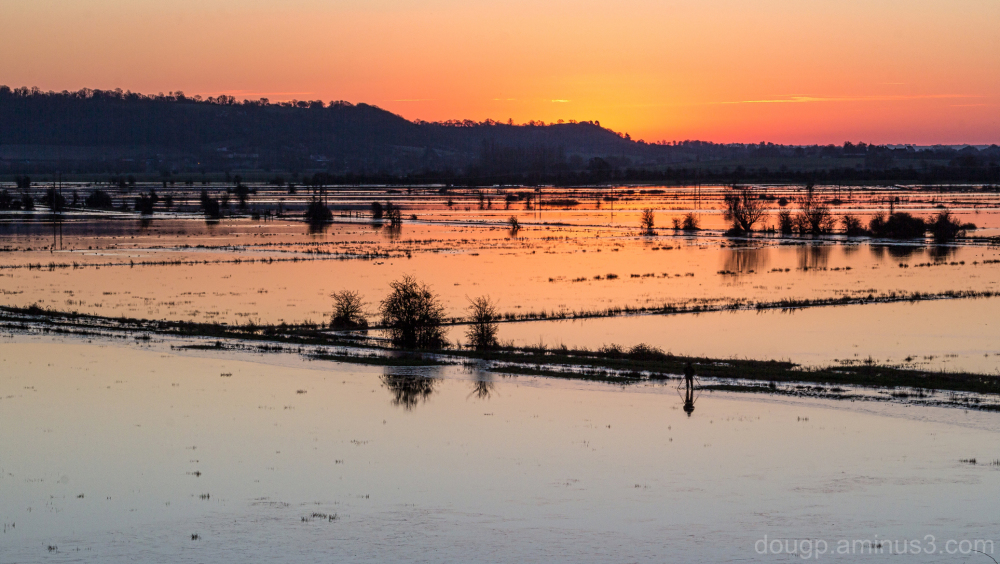 Sunrise over the flooded levels