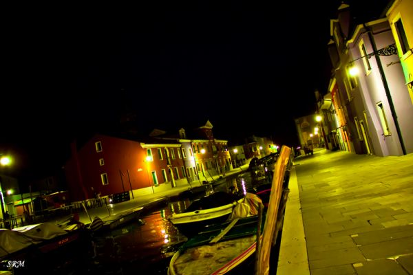 night photography,river,water,Burano, Italy
