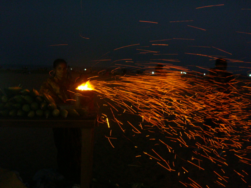 Sparks from a corn shop