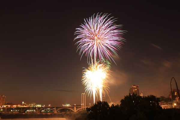 Fireworks over Mississippi river on Fourth of July