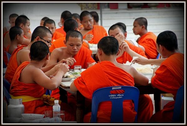 Buddhist Monks Having a Meal, Bangkok