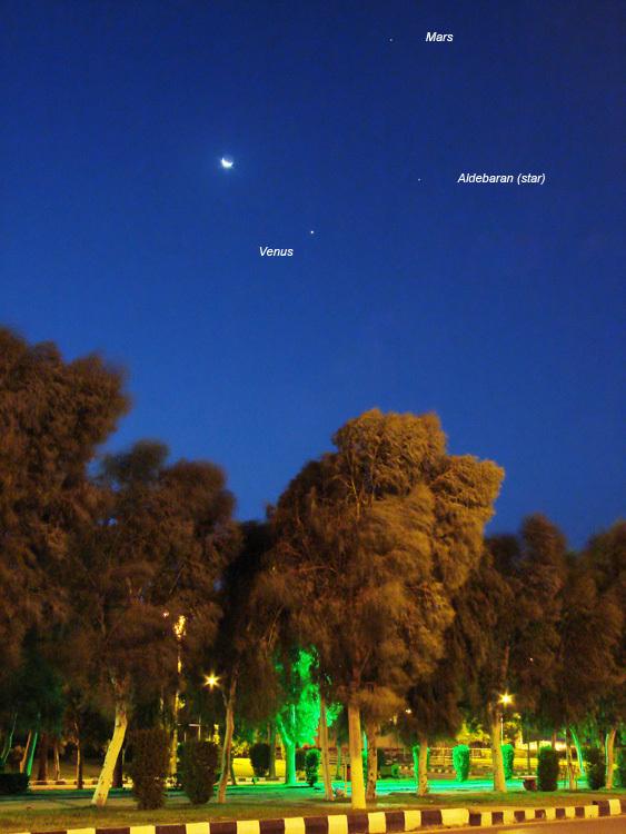 Conjunction of the Moon, Venus, Mars & Aldebaran