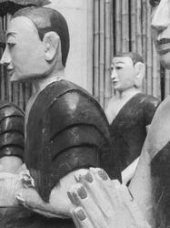 serene stylised monks