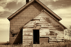 Abandoned Schoolhouse in Nebraska   Front View