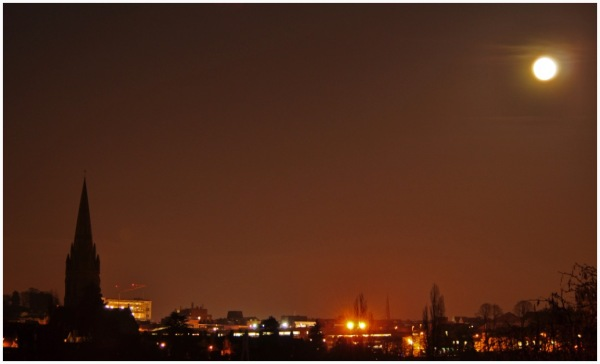 Moon over Exeter.