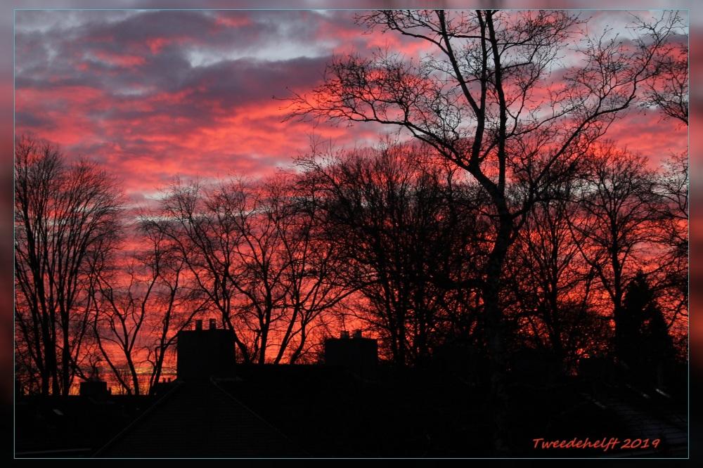 ondergaande zon in januari