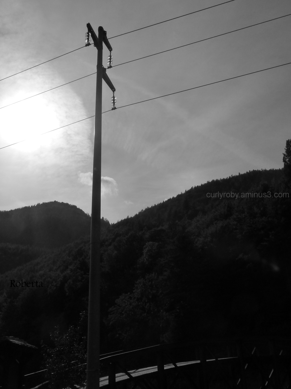 mountains electricity pole
