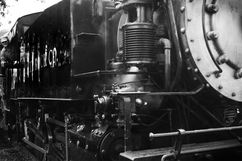 Black and White close-up of a steam engine train