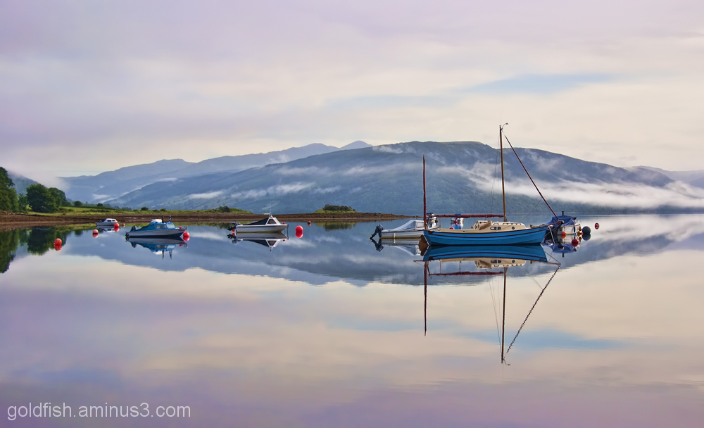 Morning Mist and boats on Loch Fyne 5/6