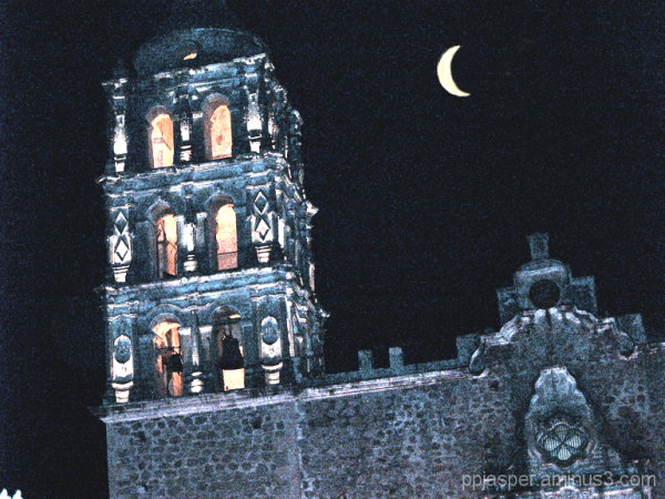 Moon Over Church Belfry - Alamos SON