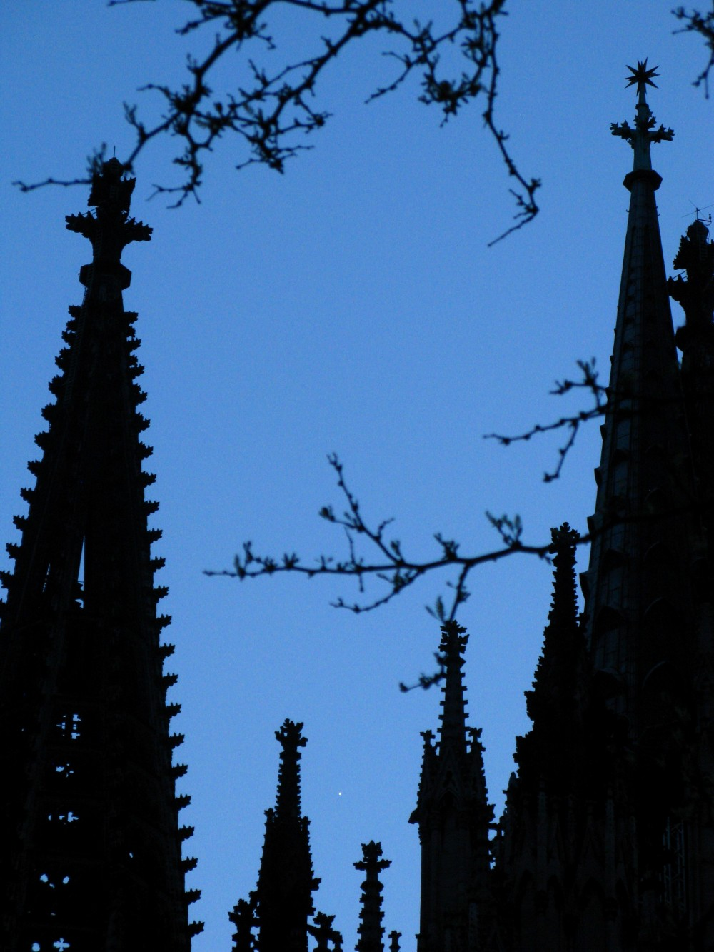The evening star framed by some spires