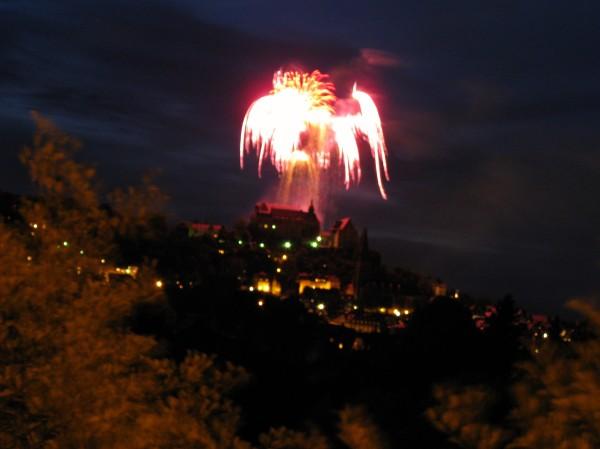 Marburg Castle, illuminated by fireworks