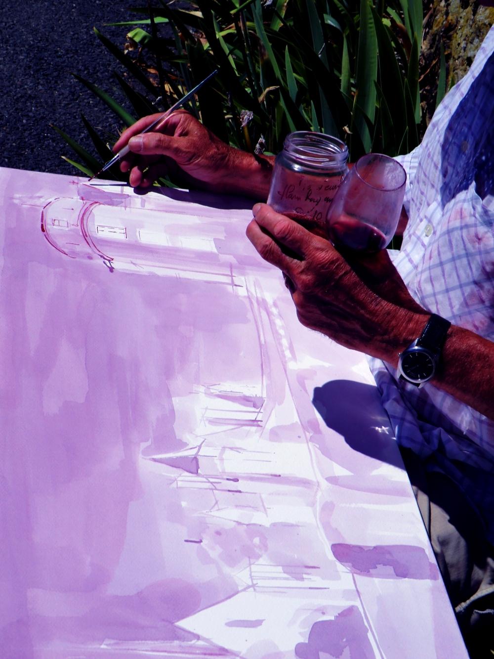 Peindre à l'amarante du vin rouge...